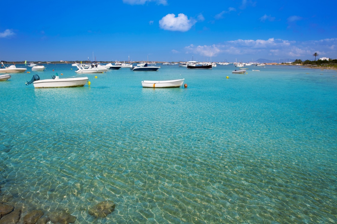 Formentera boats at Estany des Peix lake in Balearic Islands