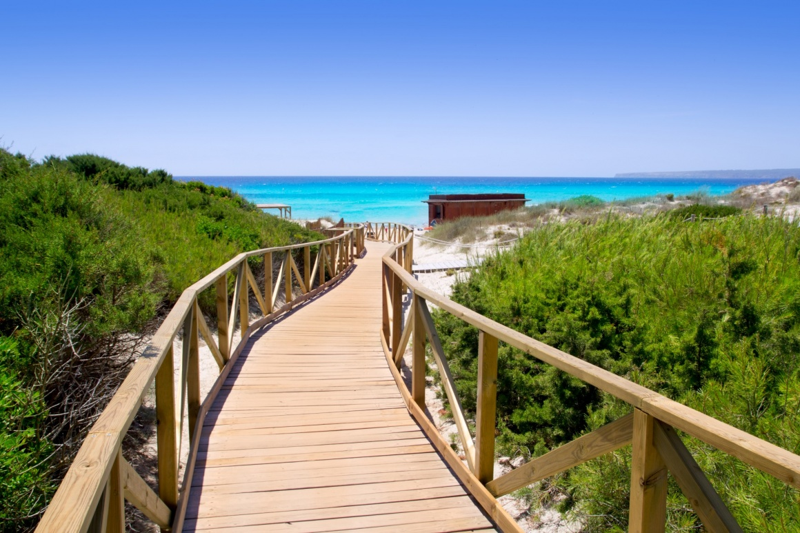 'Formentera migjorn Els Arenals beach walkway of wood in Spain' - Formentera